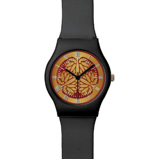 Tokugawa Aoi Mon Japanese Family Crest Gold on Red Wristwatch