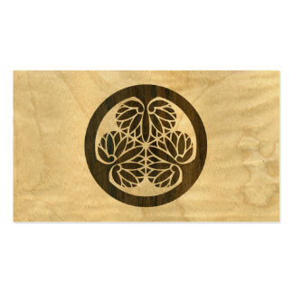 Tokugawa Aoi Mon Japanese Family Crest Wood Veneer Double-Sided Standard Business Cards (Pack Of 100)