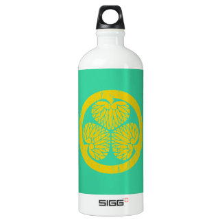 Tokugawa gold crest distressed aluminum water bottle