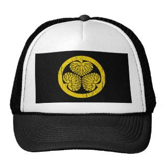 Tokugawa gold crest distressed trucker hat