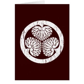 Tokugawa white crest distressed greeting cards