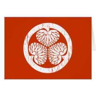 Tokugawa white crest distressed greeting card