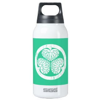 Tokugawa white crest distressed insulated water bottle