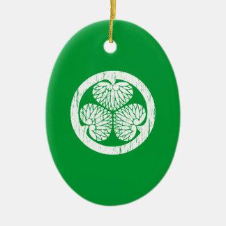 Tokugawa white crest distressed christmas tree ornaments