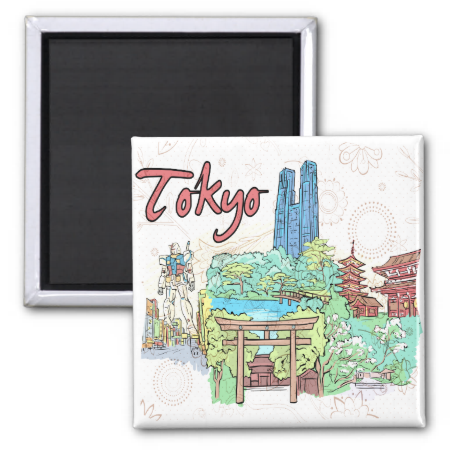 Tokyo 2 Inch Square Magnet