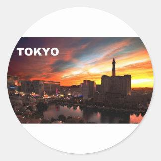 Tokyo city at twilight (St.K) Classic Round Sticker