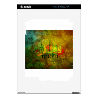Tokyo City Skyline on Grunge Background Illustrati iPad 2 Skins