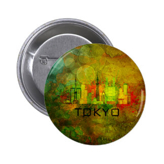 Tokyo City Skyline on Grunge Background Illustrati Pinback Button