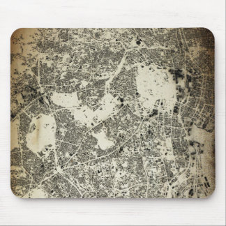 Tokyo City Streets and Buildings Vintage Design Mouse Pad
