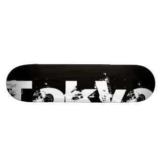 Tokyo - Cool Urban Style In Worn Black And White Skateboard