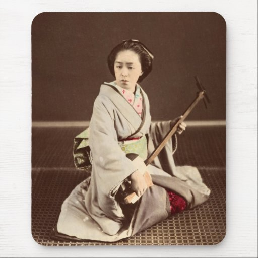 Tokyo Geisha with Shamisen, c. 1870 Mouse Pads