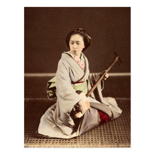 Tokyo Geisha with Shamisen, c. 1870 Postcard