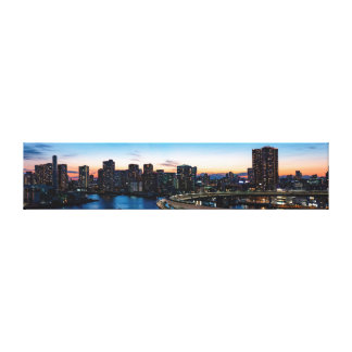 Tokyo Japan Landmark. Rainbow Bridge Panorama. Canvas Print