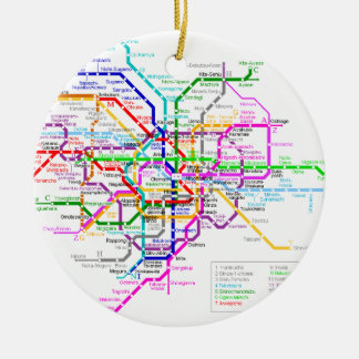 Tokyo Japan Subway Map Double-Sided Ceramic Round Christmas Ornament