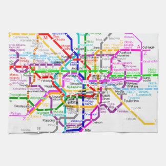 Tokyo Japan Subway Map Hand Towels