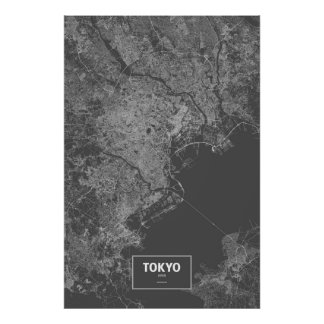 Tokyo, Japan (white on black) Poster