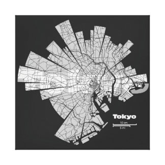 Tokyo Map Wrapped Canvas