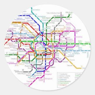 Tokyo Metro Map Classic Round Sticker