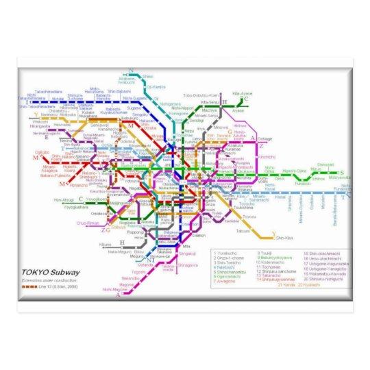 Tokyo Metro Map Postcard