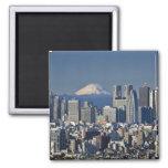 Tokyo, Shinjuku District Skyline, Mount Fuji, 2 Inch Square Magnet