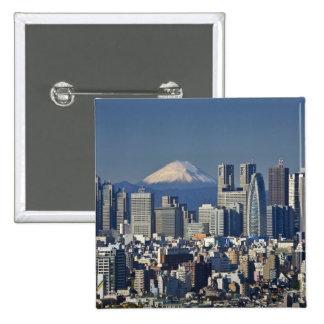 Tokyo, Shinjuku District Skyline, Mount Fuji, Button