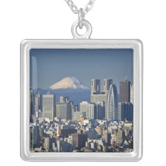 Tokyo, Shinjuku District Skyline, Mount Fuji, Silver Plated Necklace