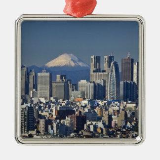 Tokyo, Shinjuku District Skyline, Mount Fuji, Square Metal Christmas Ornament