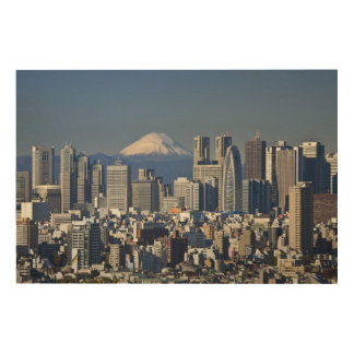 Tokyo, Shinjuku District Skyline, Mount Fuji Wood Print