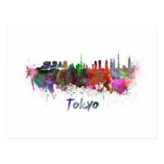 Tokyo skyline in watercolor postcard