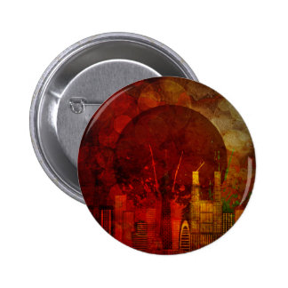 Tokyo Skyline Japan Flag Grunge Background Illustr Pinback Button