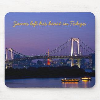 Tokyo Skyline Tower Rainbow Bridge Odaiba Night Mousepads