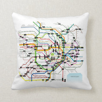 Tokyo Subway Map 東京地下鉄マップ Throw Pillow