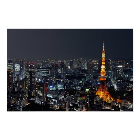 Tokyo Tower by Night Poster