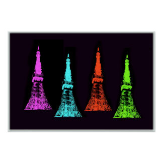 Tokyo Tower Collage Posters