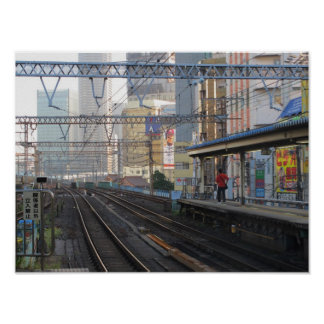 Tokyo Train Tracks Poster