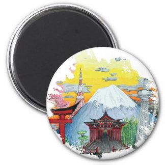 Tokyo with Mount Fuji Original Art 2 Inch Round Magnet