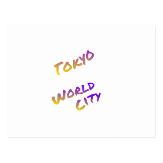 Tokyo world city, colorful text art postcard