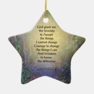 Toldo de árbol del rezo de la serenidad adorno de cerámica en forma de estrella