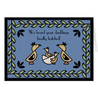 Tole Twin Duckling Baby Boys Congratulations Card