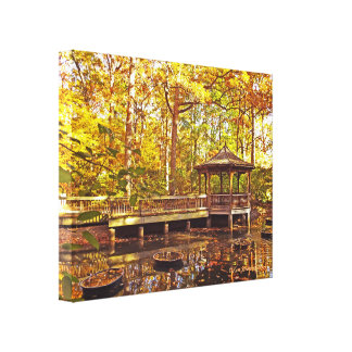 TOLEDO BOTANICAL GARDEN GAZEBO AGLOW WITH GOLDEN C CANVAS PRINT