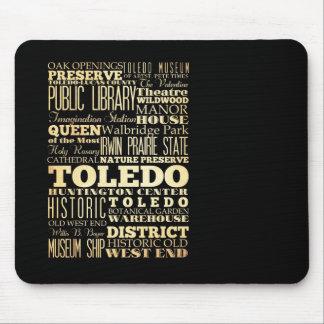 Toledo City of Ohio State Typography Art Mousepads