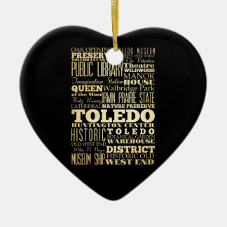 Toledo City of Ohio State Typography Art Double-Sided Heart Ceramic Christmas Ornament