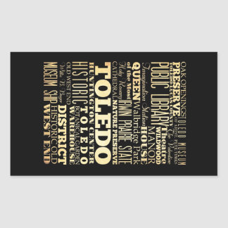 Toledo City of Ohio State Typography Art Rectangular Sticker