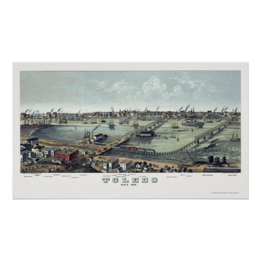 Toledo, OH Panoramic Map - 1876 Poster