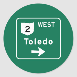 Toledo, OH Road Sign Classic Round Sticker