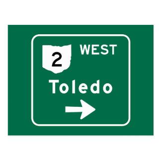 Toledo, OH Road Sign Postcard