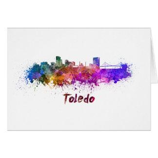 Toledo OH skyline in watercolor Card