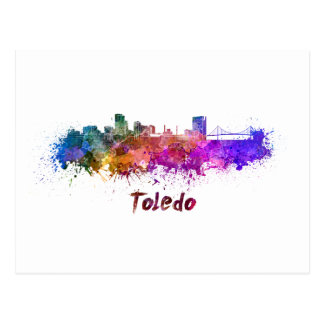 Toledo OH skyline in watercolor Postcard