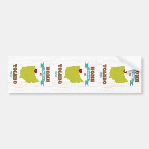 Toledo, Ohio Map – Home Is Where The Heart Is Car Bumper Sticker