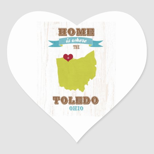 Toledo, Ohio Map – Home Is Where The Heart Is Heart Sticker